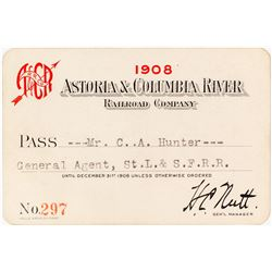 Astoria & Columbia River Railroad Company Annual Pass (1908)