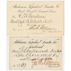 Atchison, Topeka and Santa Fe Railroad Passes (1870s)