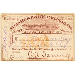 Atlantic & Pacific Railroad (Missouri Pacific Railroad) Pass (1876)