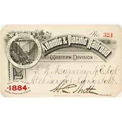 Atlantic & Pacific Railroad (Western Division) Annual Pass (1884)