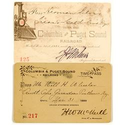 Columbia & Puget Sound Railroad Annual Pass Duo (1889)