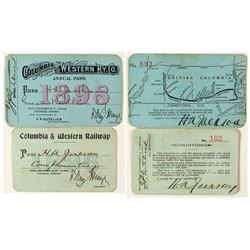 Columbia & Western Railway Co. Annual Passes (One w/ Map)