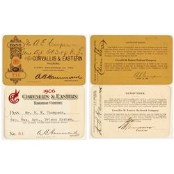 Corvallis & Eastern Railroad Annual Passes (1901 & 1906)