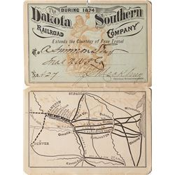 Dakota Southern Railroad Annual Pass (1874) (Map & Table of Distances)