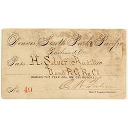 Denver, South Park & Pacific Railroad Company Annual Pass (1880)