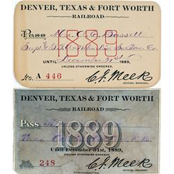 Denver, Texas & Fort Worth Railroad Annual Pass Duo (1889)
