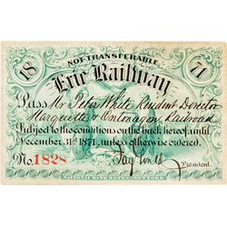 Erie Railway Pass Signed by Jay Gould & Revenue-Imprinted (1871)