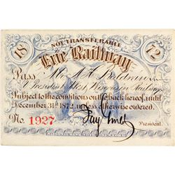 Erie Railway Pass Signed by Jay Gould & Revenue-Imprinted (1872)
