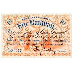 Erie Railway Pass Signed by Jay Gould, Issued to John Insley Blair & Revenue-Imprinted (1870)