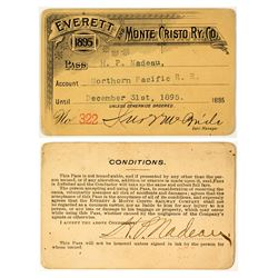 Everett & Monte Cristo Railway Co. Pass (1895) (Gold Mining Ghost Town)