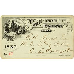 Fort Worth & Denver City Railway Co. Annual Pass (1887)