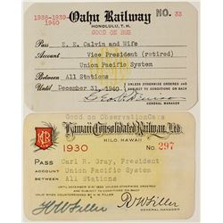 Hawaii Railroad Pass Pair