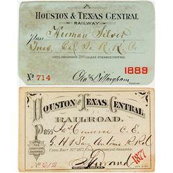 Houston & Texas Central Railroad Annual Passes (1877 & 1889)