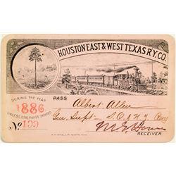 Houston East & West Texas Railway C. Annual Pass (1886)