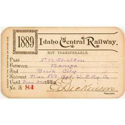 Idaho Central Railroad Annual Pass (1889)