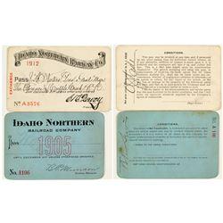 Idaho Northern Railroad Co. Annual Passes (1905 & 1912)