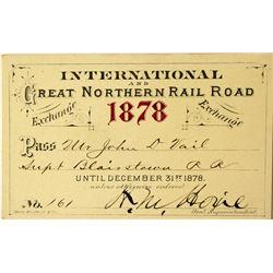 International & Great Northern Railroad Annual Pass (1878)