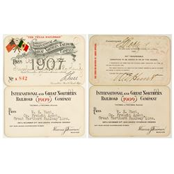 International & Great Northern Railroad Annual Passes (1907 & 1909)