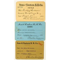Ione & Eastern Railroad Co. Annual Pass Trio