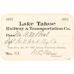 Lake Tahoe Railway & Transportation Co. Annual Pass (1902)