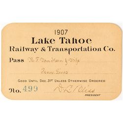 Lake Tahoe Railway & Transportation Co. Annual Pass (1907) Signed by D.L. Bliss