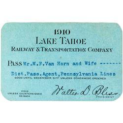 Lake Tahoe Railway & Transportation Co. Annual Pass (1910)