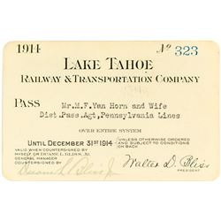 Lake Tahoe Railway & Transportation Co. Annual Pass (1914)