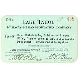 Lake Tahoe Railway & Transportation Co. Annual Pass (1917)