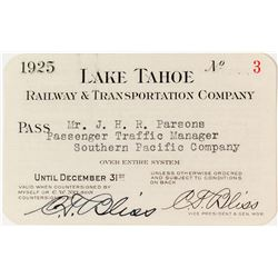 Lake Tahoe Railway & Transportation Co. Annual Pass (1925)