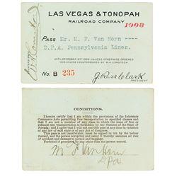 Las Vegas & Tonopah Railroad Company Pass (1908)