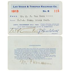 Las Vegas & Tonopah Railroad Company Pass (1913)
