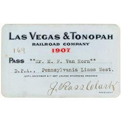 Las Vegas & Tonopah Railroad Company Pass Signed by J. Ross Clark (1907)