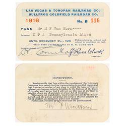 Las Vegas & Tonopah Railroad Company/ Bullfrog Goldfield Railroad Co. Pass (1916)