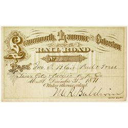 Leavenworth, Lawrence & Galveston Railroad Annual Pass (1871) Issued to John Insley Blair