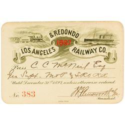 Los Angeles & Redondo Railway Company Pass (1897)