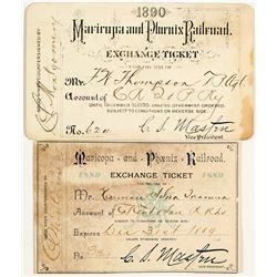 Maricopa & Phoenix Railroad Annual Passes (1889 & 1890)