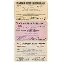 McCloud River Railroad Co. Passes (3)