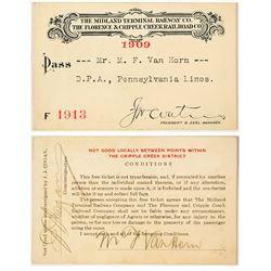 Midland Terminal Railway Co. / Florence & Cripple Creek Railroad Co. Annual Pass (1909)