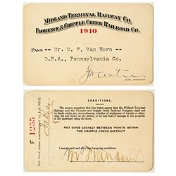 Midland Terminal Railway Co. / Florence & Cripple Creek Railroad Co. Annual Pass (1910)