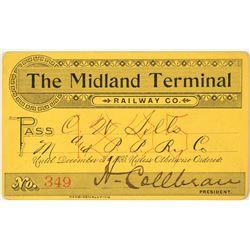 Midland Terminal Railway Co. Annual Pass (1895)