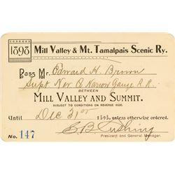 Mill Valley & Mt. Tamalpais Scenic Railway Pass (1898)