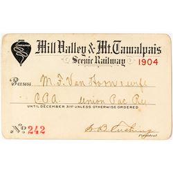 Mill Valley & Mt. Tamalpais Scenic Railway Pass (1904)