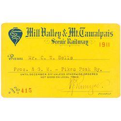 Mill Valley & Mt. Tamalpais Scenic Railway Pass (1911)