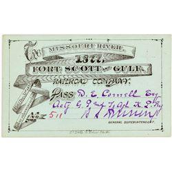 Missouri River, Fort Scott & Gulf Railroad Co. Annual Pass (1877)