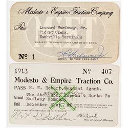 Modesto & Empire Traction Co. Railway Passes incl. No. 1