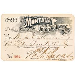 Montana Union Railway Annual Pass (1897)