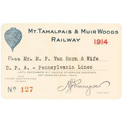 Mt. Tamalpais & Muir Woods Railway Annual Pass (1914)