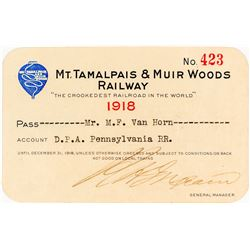 Mt. Tamalpais & Muir Woods Railway Annual Pass (1918)