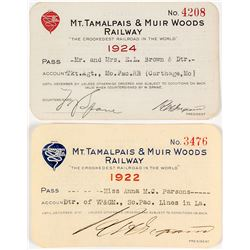 Mt. Tamalpais & Muir Woods Railway Annual Passes (1922 & 1924)