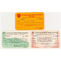 Mt. Tamalpais & Muir Woods Railway Annual Passes (1927, 1928, 1929)